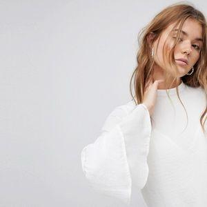 ASOS White Bell Sleeve Blouse